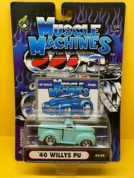 164 Funline Muscle Machines 40 Willys Pu Pickup - Turquoise