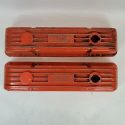Vintage Weiand Finned Aluminum Valve Covers Chevy Small Block Sbc 400 350 327...