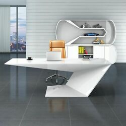 47.2 White Modern Writing Desk Table Wood Pc Laptop Computer Home Office Desk
