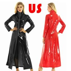 Us Unisex Men Womenand039s Pvc Leather Coat Long Dress Wet Look Party Sexy Clubwear