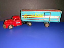 Vintage Linmar Overland Tin Tractor Trailer Friction Toy Truck