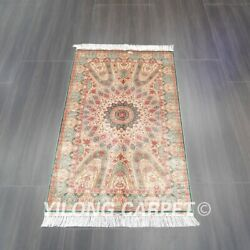 Yilong 3and039x5and039 Handmade Silk Carpet Dome Pattern Eco Friendly Area Rug Z532a