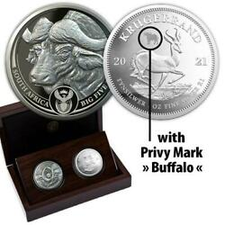 South Africa R5 2021 Silver Proof Two Coins Set Buffalo Krugerrand Privy