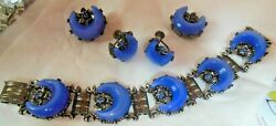 Vintage Blue Lucite Moonglow Crescent Moon Bracelet Brooches And Earrings