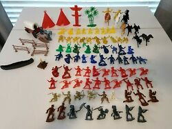 Vintage Assorted Unbranded Mpc Lot Of 100 Figurine Toys Army Cowboys Indians