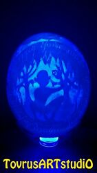 Lord Of The Rings. Carved Ostrich Eggshell. Hand Made Art. Nightstand Light.