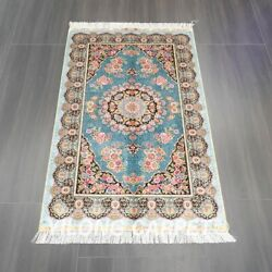 Yilong 3and039x5and039 Handmade Silk Carpet Blue Home Furniture Classic Area Rug Z533a