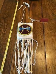 Native American Beaded Leather Tobacco Bag, Medicine Pouch