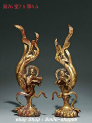 10.2 Old Tang Dynasty Pure Bronze Gold Gilt Flying Fairy Beauty Statue Pair