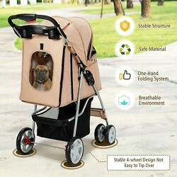 Foldable 4-wheel Pet Stroller With Storage Basket One-button Folding Beige New