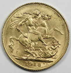 British India 1918 I 1 Sovereign Sov Gold Coin George V Choice Unc One Year Type