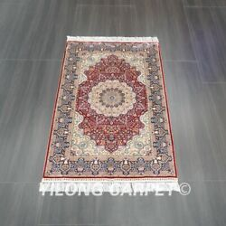 Yilong 3and039x5and039 Red Handmade Silk Carpet Home Decor Luxury Durable Rug Z530a