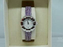 Past Times Womenand039s Rhodium Plated Petal Shape Mop Dial Purple Strap Watch
