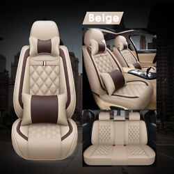 Car Seat Covers Top Pu Leather Front And Rear Full Set Universal For 5-seats Cars