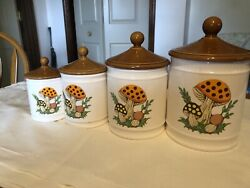 Sears, Roebuck Merry Mushroom Canister With Lid 1982 Retro Set Of 4