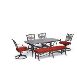 Traditions6pc 4 Swivel Rockers, Backless Bench, 38x72 Cast Table