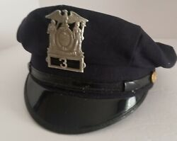 Vintage Weberand039s 1940and039s Nypd Buffalo Police Officers Uniform 8 Point Hat W/ Badge
