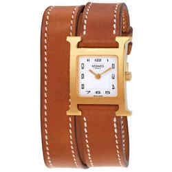 Hermes Heure H White Dial Small Double Tour Ladies Watch 036737ww00