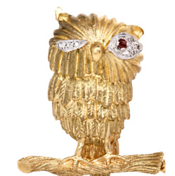 Antique Diamond And Ruby 14k Yellow Gold Owl Pin Brooch Fine Jewelry