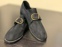 18th Century Colonial, Man's Black Rough Leather Buckle Shoes Pair-size 12, New