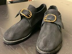18th Century Colonial, Man's Black Rough Leather Buckle Shoes Pair-size 13, New