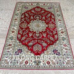 Yilong 5and039x8and039 Red Handmade Silk Carpet Traditional Family Room Area Rug Mc408b