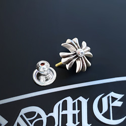 Authentic Chrome Hearts Small Ch+ Cut Out Earring Stud + Pouch And Gift Bag