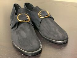 18th Century Colonial, Man's Black Rough Leather Buckle Shoes Pair-size 14, New