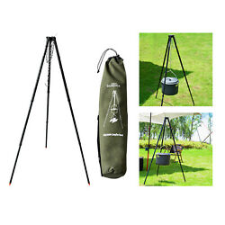 Adjustable Grill Camping Tripod Picnic Bbq Triangle Stand Fishing Hiking