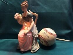 Vintage Hand Painted Porcelain Victorian Lady Night Light Figurine Works Rice Co