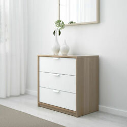 Ikea Askvoll Chest Of 3 Drawers White Stained Oak Effect/white
