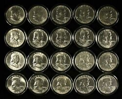 Mixed Date Roll Of 20 50c Unc Franklin Half Dollars In Capsules - Free Ship Us