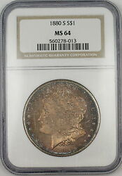 1880-s Morgan Silver Dollar Coin Ngc Ms-64 Beautifully Toned Proof-like Tb