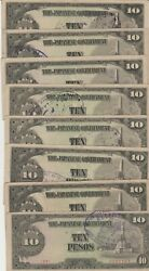 Lot Of 8 Japan, Philippines 10 Pesos 1943 Banknotes All With War Claimants Stamp