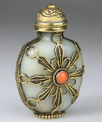 Antique Rare Chinese Jade Carved Snuff Bottle Coral Top Silver Gilt - Qing 19th