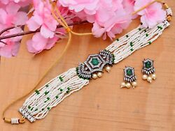 Indian Cubic Zircon Choker Necklace Set Bollywood Victorian Style Jewellery