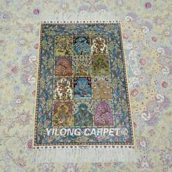 Yilong 2and039x3and039 Four Seasons Handknotted Silk Carpet Kid Friendly Rug Ywx100a