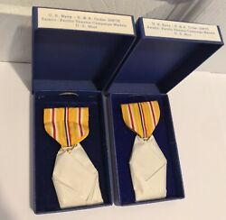 Lot Of 2 Original Wwii Us Asiatic Pacific Theatre Medals Us Mint Mint In Box