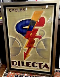 Original Bicycle Poster By Favre 1930and039s - Dilecta Cycles - 29 X 44
