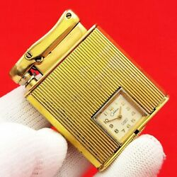 Colibri - Monopol - Automatic - Petrol Lighter And Watch - Gold Pl. - Swiss Made