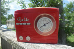 Vintage Red Radio Shaped Collectable Biscuit / Cookie Tin, Rare, Silver Crane Co
