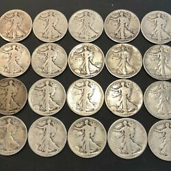 All 1918 P Walking Liberty Half Dollars Full Roll 20 Coins Silver Us Coin 23j