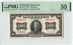 Netherlands 100 Gulden 1943 State Note Abnc Pick 69 Pmg About Uncirculated 55