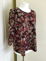 Marks And Spencer Mands Top, 18/20, 3/4 Sleeves, Red Mix, Superb