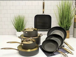 Berghoff Ouro Black Rose Gold 12pc Deluxe Hard-anodized Aluminum Cookware 850