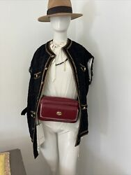 Auth. Gg Logo Plaque Red Leather Belt/waist Bag Size 80 598080 New