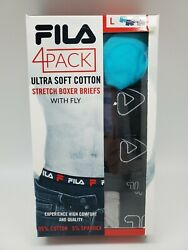 Fila 4 Pack Soft Cotton Boxer Briefs With Fly Menand039s Medium Large Xlarge