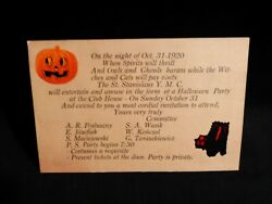 Rare Dennison Stickers On-htf-1920-invitation To A Halloween Party On Oct. 31st.