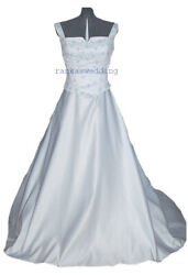 Wedding Dress Brand New Sz 8 - Pearl-white Gown With Blue Embroidery