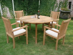 Cahyo A-grade Teak 5 Pc Dining 52 Round Table 4 Stacking Arm Chair Set Patio Nw